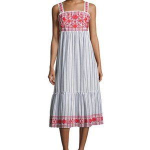 Kate Spade Broome St Embroidered Cotton Midi Dress